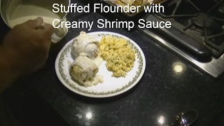 Stuffed Flounder With Creamy Shrimp Sauce
