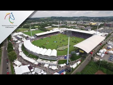 Video camera drone flying over the CHIO Aachen show grounds