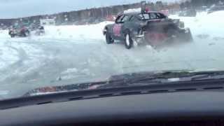 Upper Red Lake Ice Track, Gresham, Wisconsin - Racing action m…