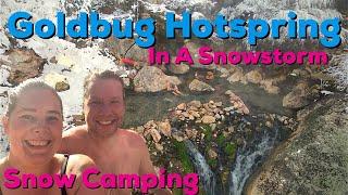 Snow Camping at a SUṖER POPULAR Hotspring in Idaho!