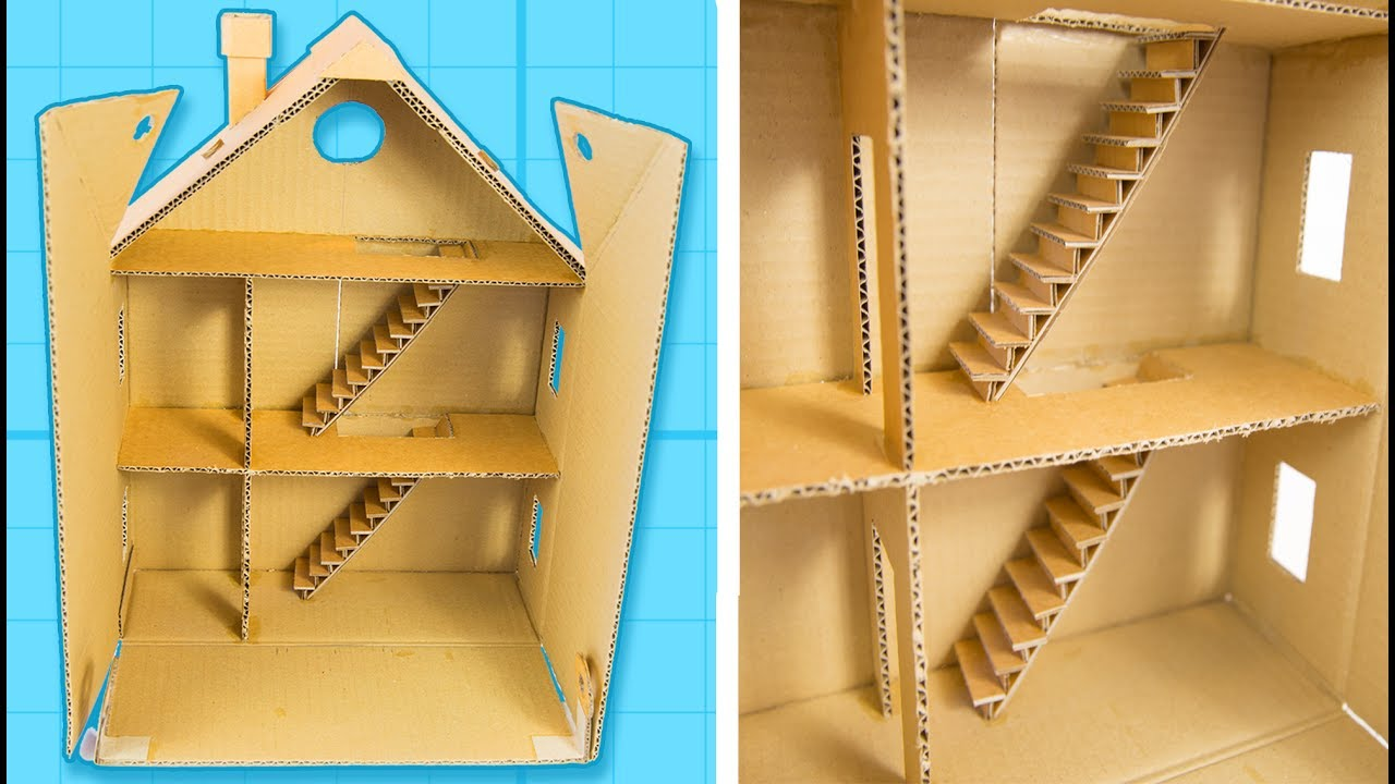 How to make a cardboard house with rooms part 1 6 for How to make a house from cardboard box
