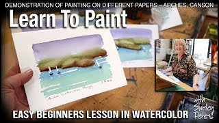 Learn to Paint! Easy Beginners Seascape while testing papers, and making greeting cards.
