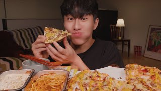 MUKBANG | 도미노 피자 블랙타이거 쉬림프 피자,…