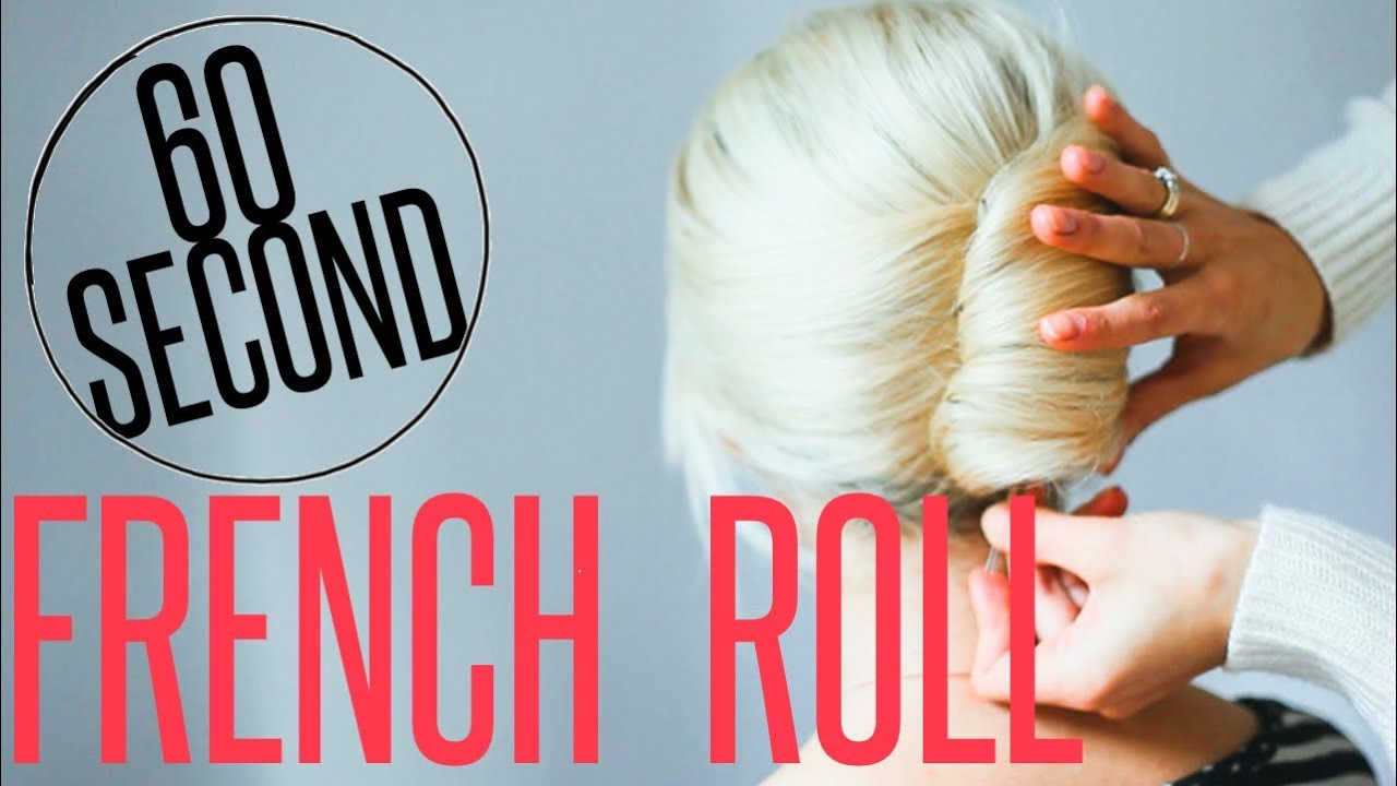 Diy french roll 60 second hair tutorial youtube solutioingenieria Image collections