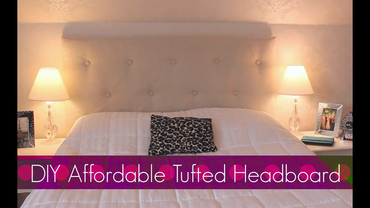 diy easy affordable tufted headboard bedroom decor youtube - Diy Backboard Bed