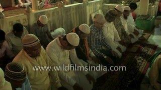 Muslim devotees offer namaz at Ajmer Sharif Dargah, Rajasthan