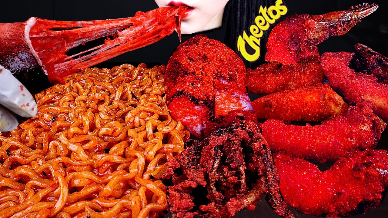 ASMR SPICY SEAFOOD, FIRE NOODLES, 불닭볶음면 먹방, HOT CHEETOS SHRIMP, SQUID, 핫치토스, 새우 CHEESE SQUID MUKBANG