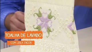 Toalha de Lavabo em Ponto Reto com Leila Jacob
