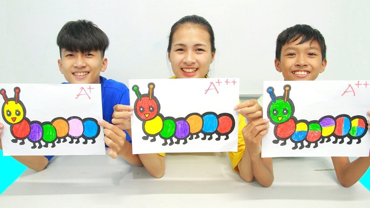 Glitter Caterpillar Warna Warni Belajar Menggambar dan Mewarnai untuk Anak