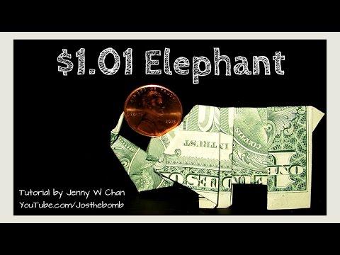 DIY How To Fold Money Origami ELEPHANT Balancing A Penny - Dollar Origami