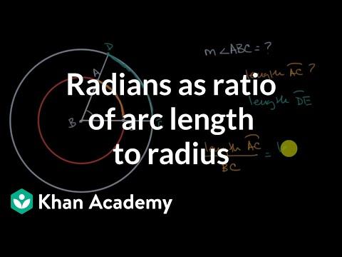 Radians as ratio of arc length to radius