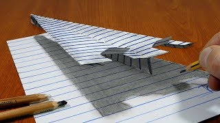 Draw a Paper Airplane on Line Paper   3D Trick Art