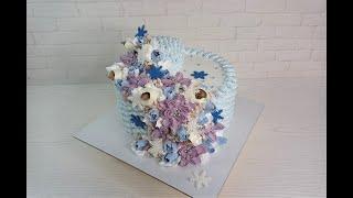 Быстрое оформление зимнего торта Торт на РОЖДЕСТВО торт на Новый год Торт КОРЗИНА белковый крем