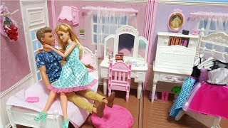 BARBIE & KEN MORNING ROUTINE BEDROOM BREAKFAST DOLL DRESS UP