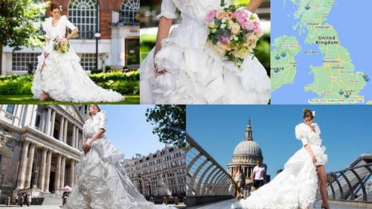 UK-based designer makes entire wedding dress from 1,500 face masks