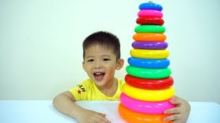 Learn colors with Stacking Ring toys - XaviABCKids