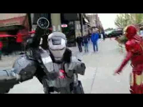 Master Le Cosplay Iron Man 2 MKVI and War Machine fight scene spoof flv