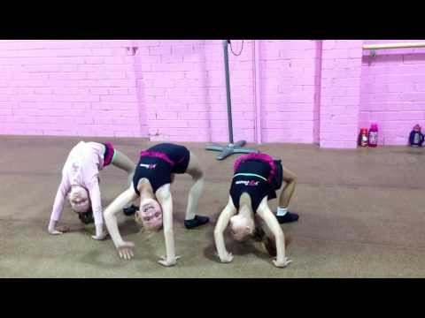 Clever acrobats and only week 2! Junior dancers in acrobatics