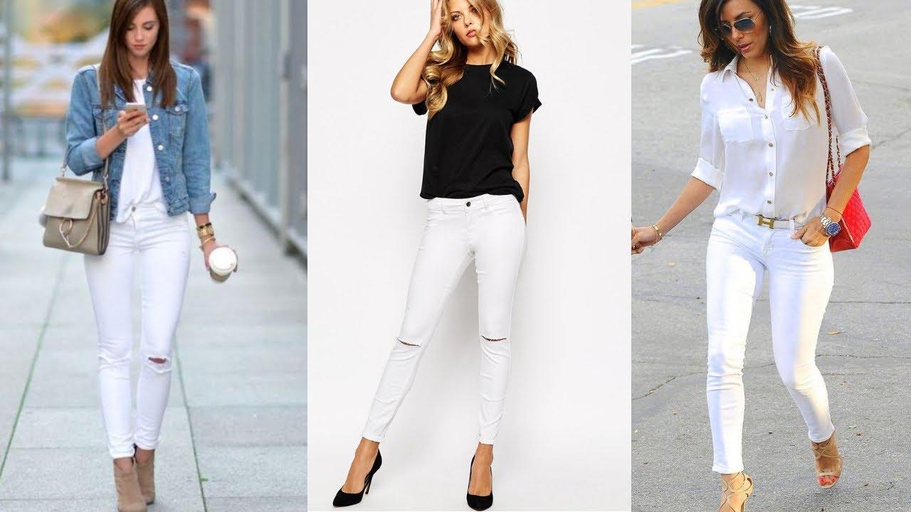 Combinaciones De Ropa Mujer Como Usar Pantalón Jeans De Color Blanco Fashion Love Youtube
