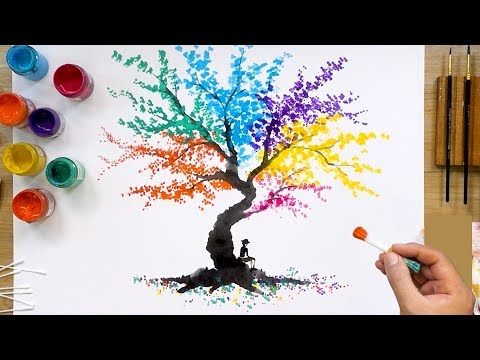Colorful Abstract Tree Q Tip Painting Technique | Easy Creative Art