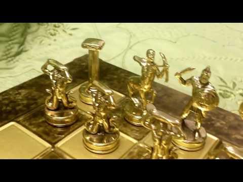 """Шахматный набор """"Греческие Боги"""" коричневая доска 36x36, Manopoulos Chess Set S6"""