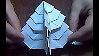 Оригами, новогодняя елка  Origami Christmas Tree