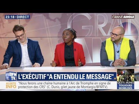 Gilets jaunes : manif du #8decembre - D. Obono en débat dans Grand Angle (BFMTV, 06/12/2018)