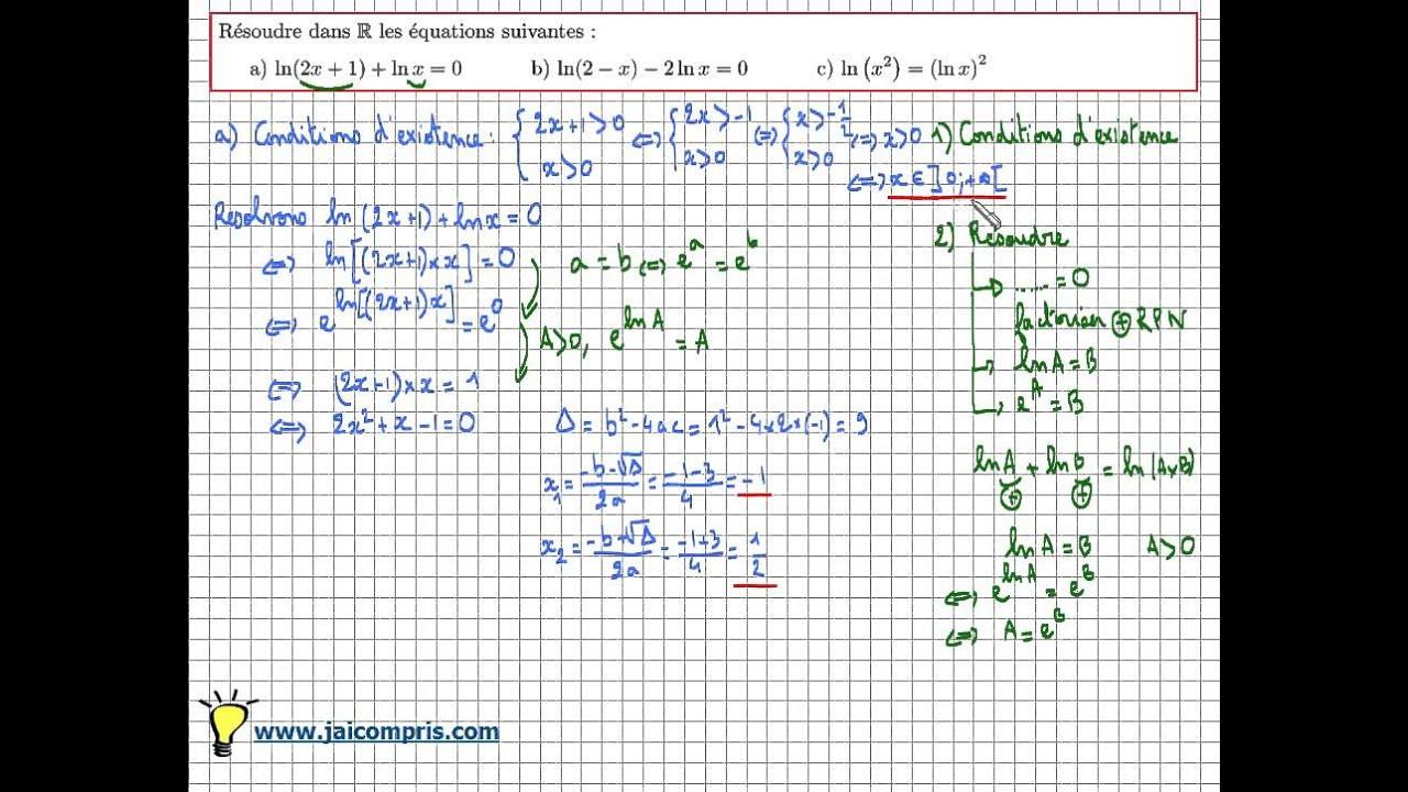 Fonction logarithme népérien : résoudre des équations avec ...
