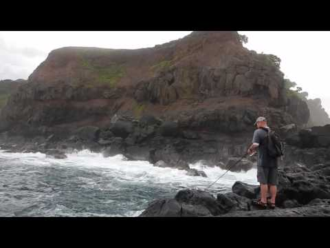 Century Fishing Rods 5 PC travel fishing rod Halehaku Point, Maui surf casting