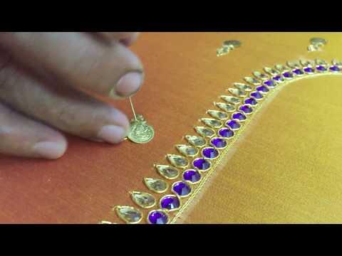 Making of LATEST KASU work - Hand embroidery on pattu blouse