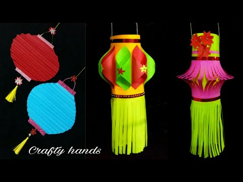 3 Easy paper kandil making ideas/ Akash kandil /Diwali decoration ideas at home