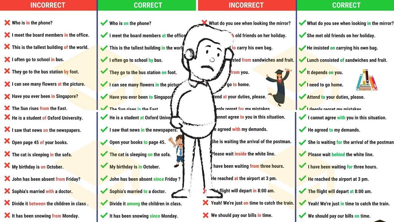 Preposition In Learn In Marathi All Complate: PREPOSITION MISTAKES: 50+ Common Mistakes With