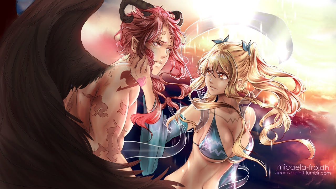 Painting process - Natsu x Lucy [Fairy Tail] - YouTube