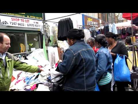 Singing salesman at Petticoat Lane Market
