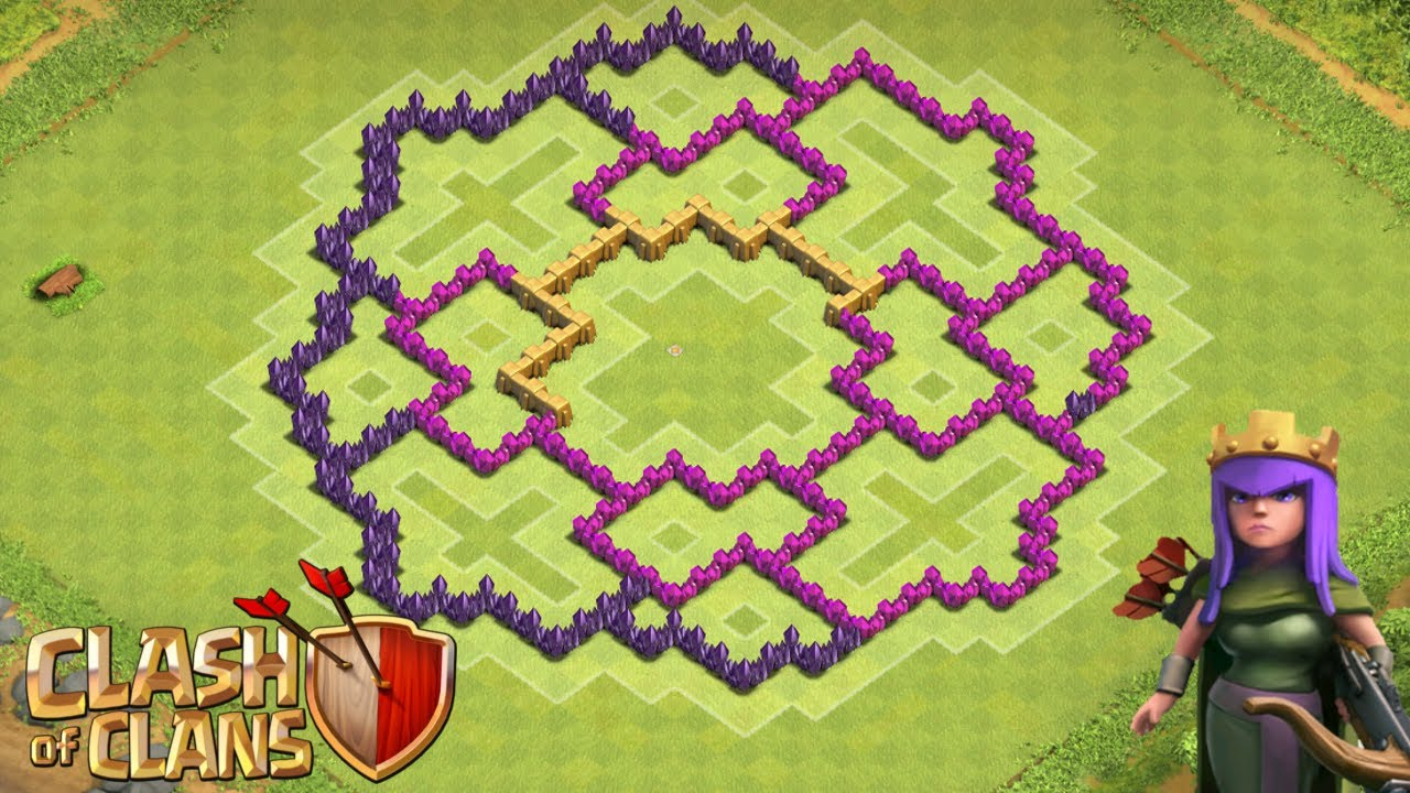 Awesome clash of clans th8 hybrid base for clan wars youtube