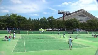4日 テニス男子団体戦 15コート 相生学院×清風 準決勝 1