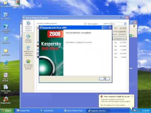 Uninstall Kaspersky Anti-Virus 2009