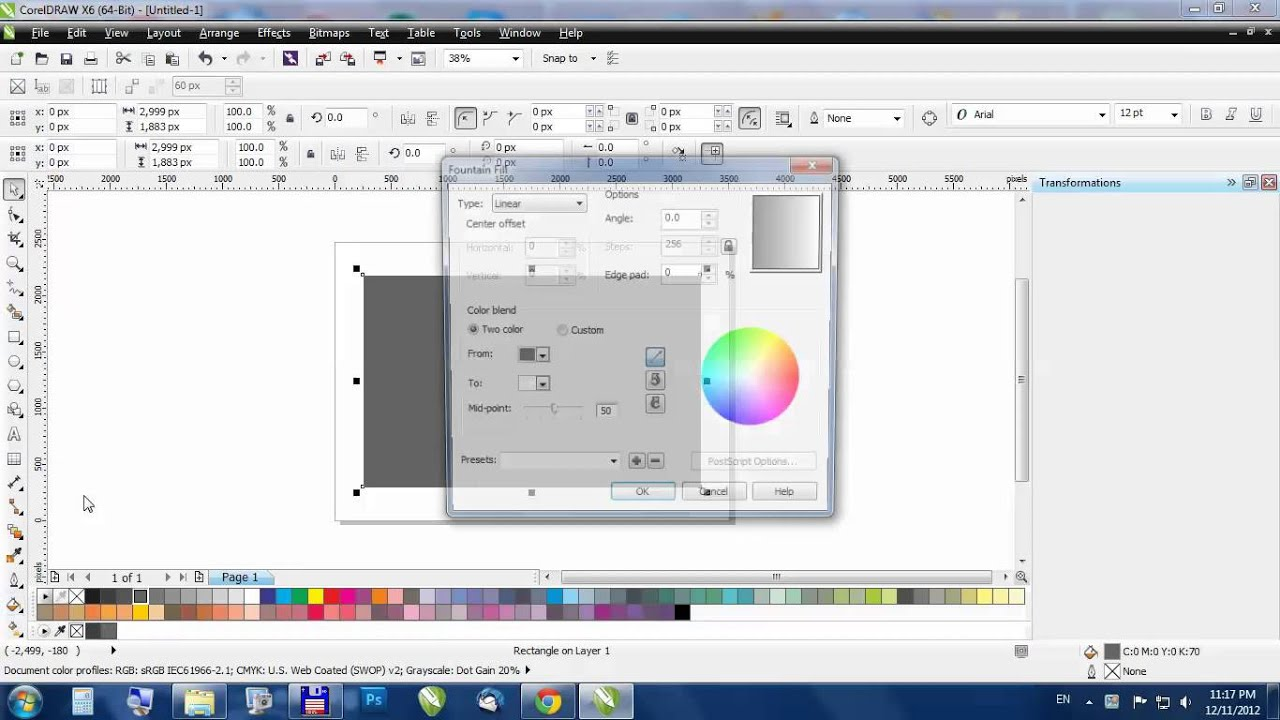 CorelDraw - How to: gradient (fountain) fil - YouTube