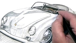 Porsche 356A super speeder colored pencil drawing | time lapse.