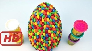 Kids Play Doh Rainbow Jelly Bean Dots Surprise Eggs Giant Candy Egg Disney Toys Children G