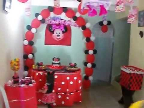 como decorar una fiesta de minnie mouse - YouTube