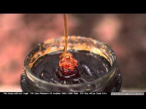 Miel cayendo grabada a alta velocidad: intriga, espectáculo y matemáticas