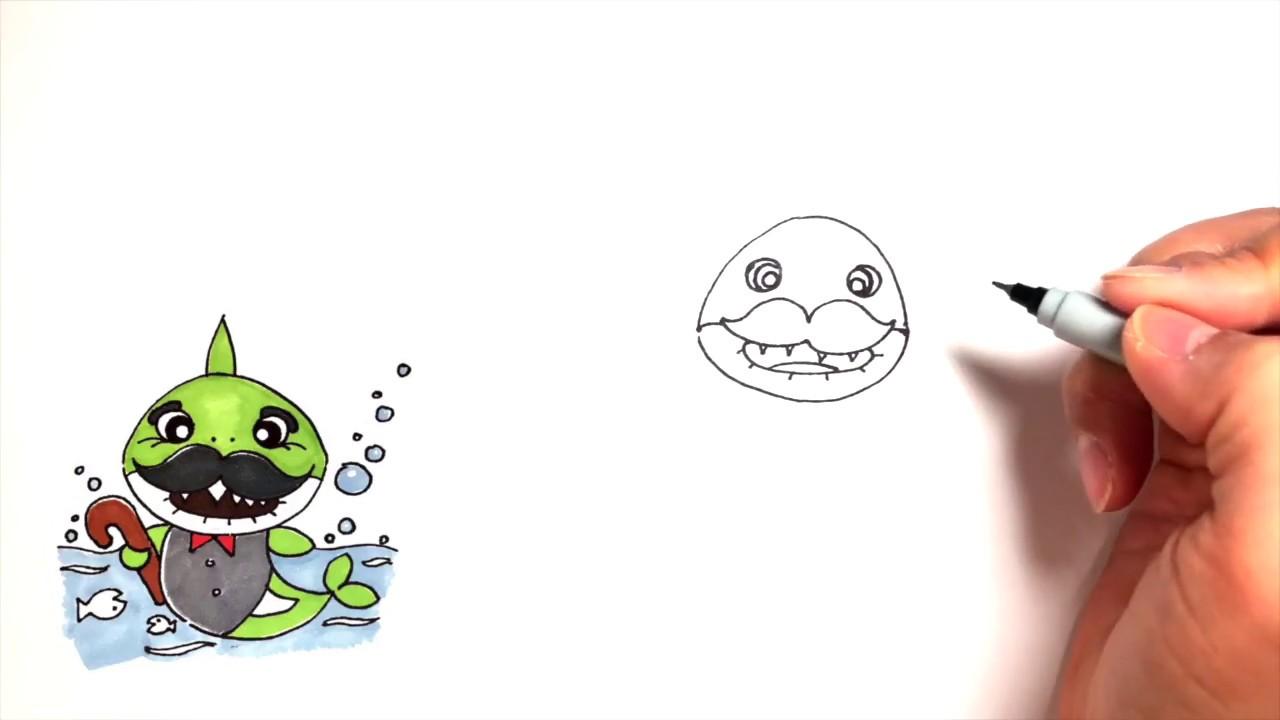 How to draw a grandpa shark - YouTube