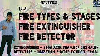 [Hindi] Fire extinguisher types, fire detector, Classes of fire, Stages of fire in hindi