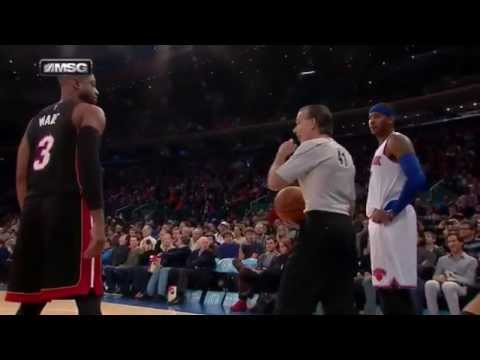 Carmelo Anthony vs Kenn Mauer (referee) in Miami Heat-New York Knicks