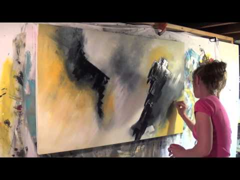 "Abstract Art Painting Demo - Original by Shari Kreller - ""Crows"""