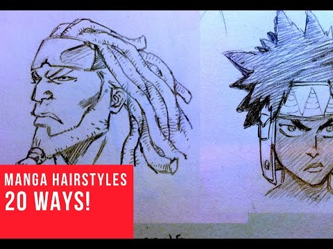 20 Ways Drawing Manga | Comic Hairstyles - YouTube