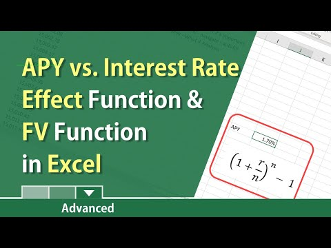 Annual Percentage Yield (APY) And Future Value And Effect Function In Excel By Chris Menard