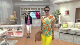 Isaac Mizrahi Live! Engineered Peony Floral Printed T-shirt with Shawn Killinger