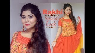 Rakhi Special Makeup Tutorial/ Get Ready With Me In This Rakhi/ Rakhi Outfit